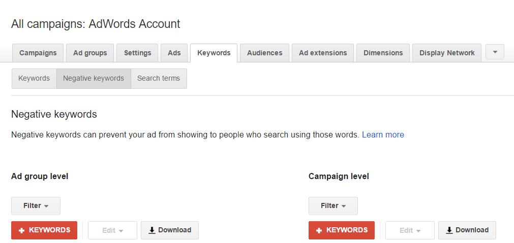 Keywords Best Practices Negative Keywords AdWords Account
