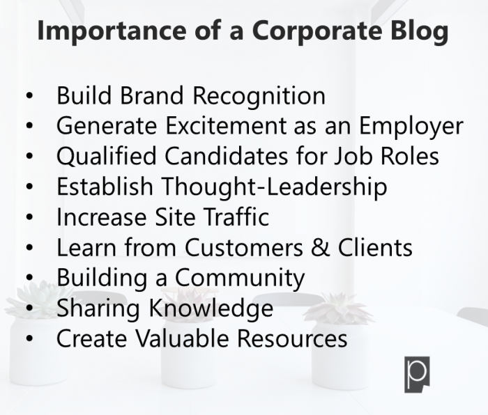 Importance of a Corporate Blog- Pagezii Feature