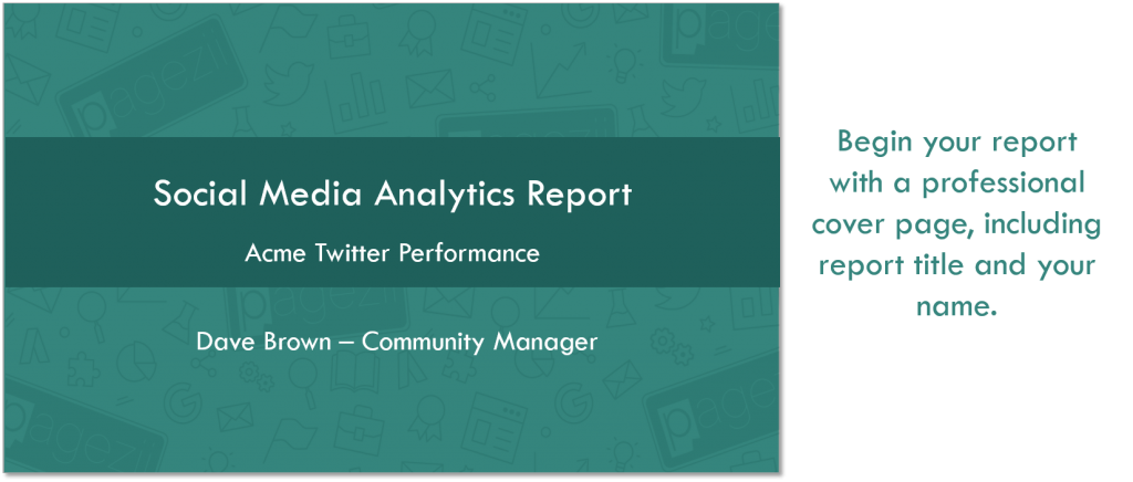 Social Media Analytics Report Template Twitter Analytics report cover page