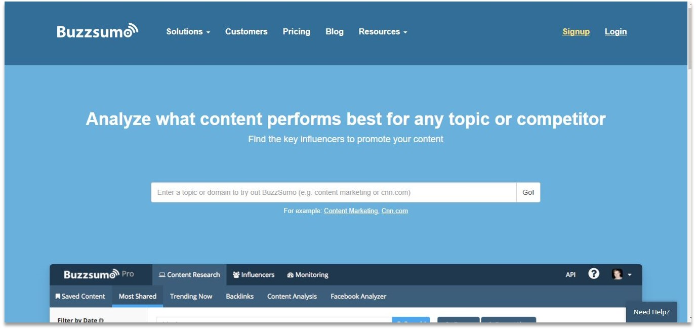 Buzzsumo blogging tools for beginners