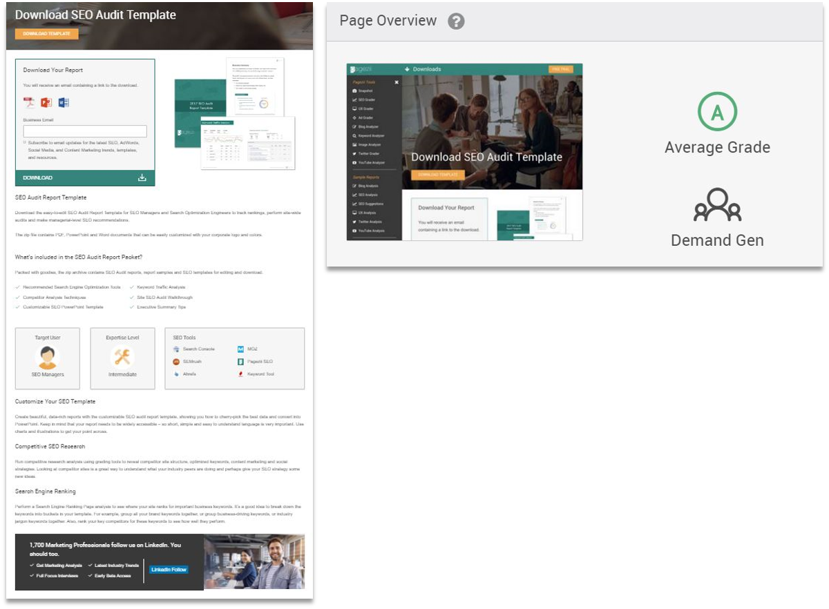 Pagezii Download Example for Digestible Content Grade