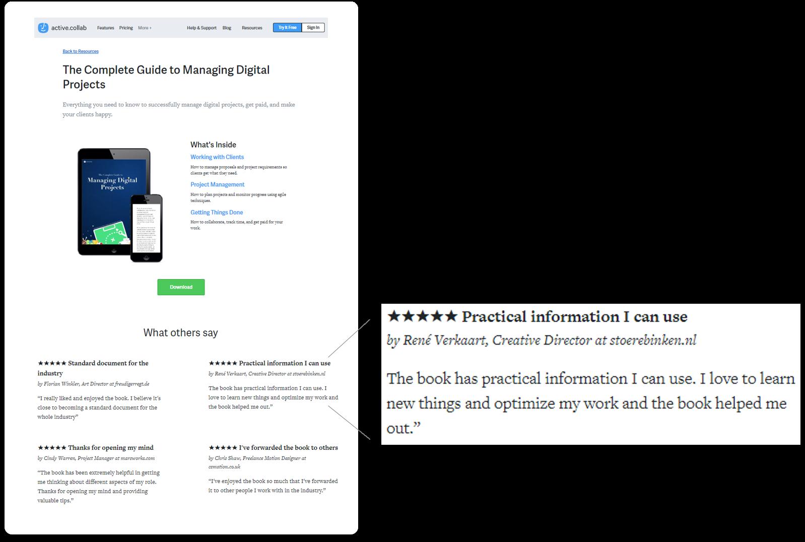 Testimonial Example In Landing Page Analysis