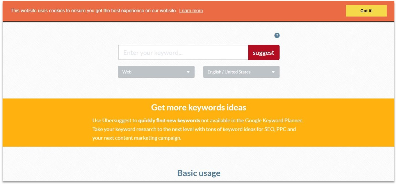 Ubersuggest blogging tools for beginners