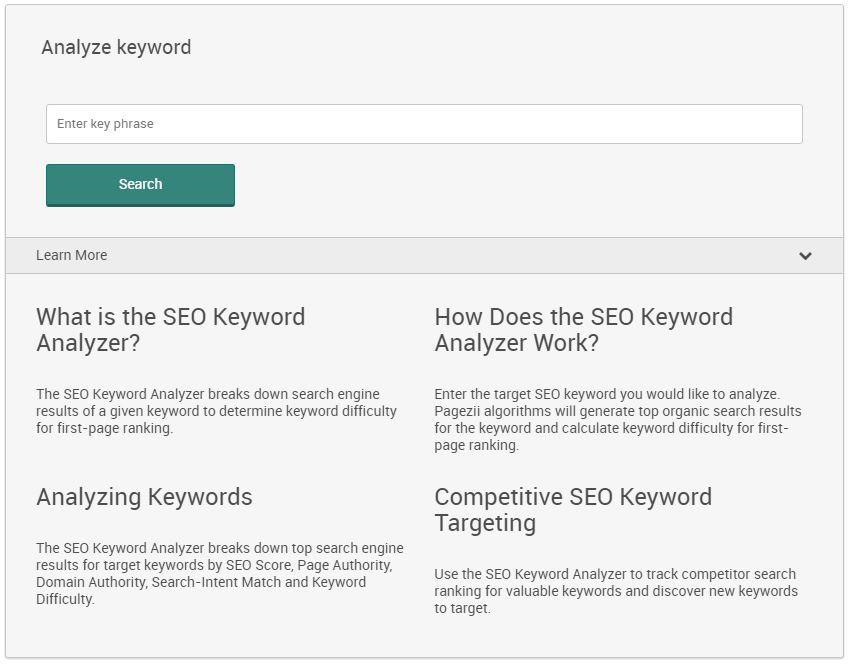 how to improve keyword ranking in google pagezii seo keyword analyzer free keyword analysis tool