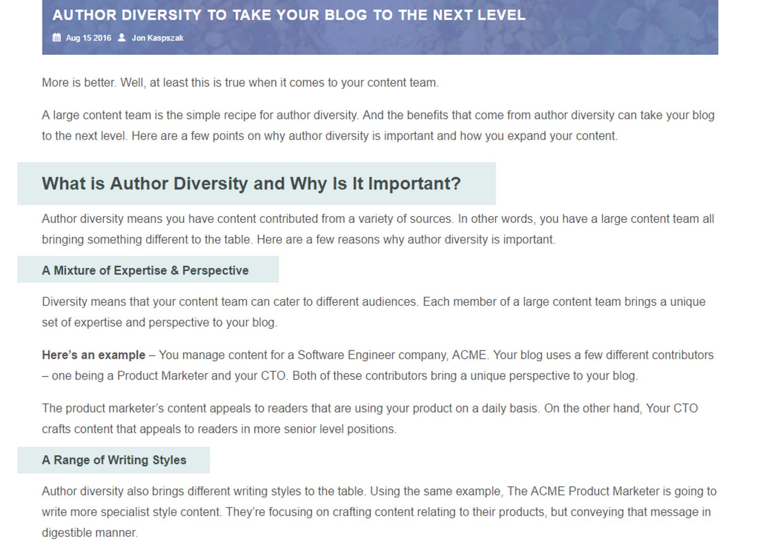 blog writing tips using headings subheadings example
