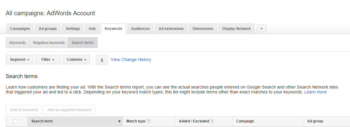 Keywords Best Practices Search Terms Example