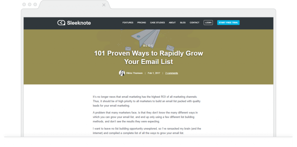 Top Marketing Blogs February Sleeknote Email Marketing Guide
