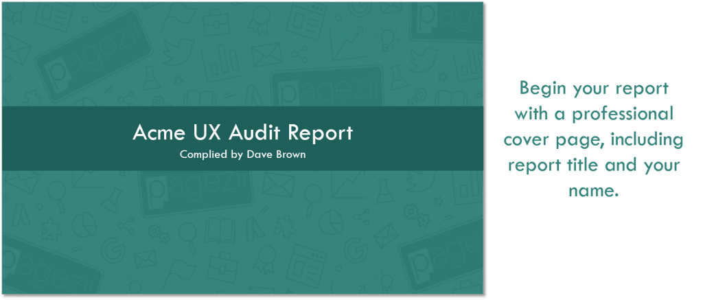 UX Audit Template Acme UX Audit Report Cover Page