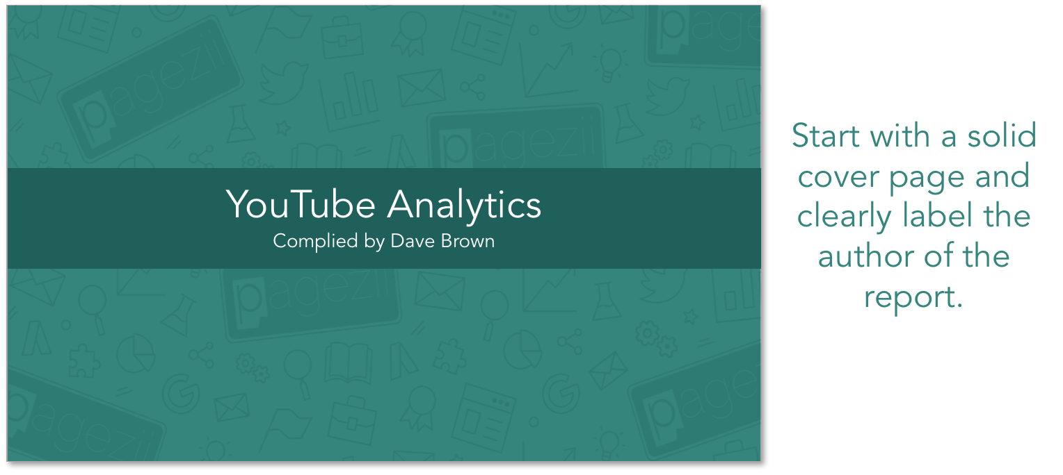 YouTube Analytics Video Report Template Cover Page of Report PowerPoint